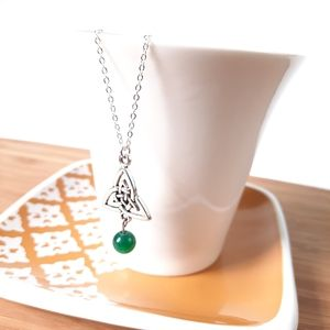 Celtic Knot & Green Striped Agate Dangle Necklace